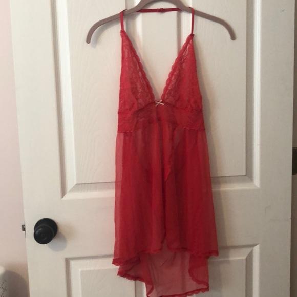 Victoria's Secret Other - Victoria's Secret Red Lace Halter Slip